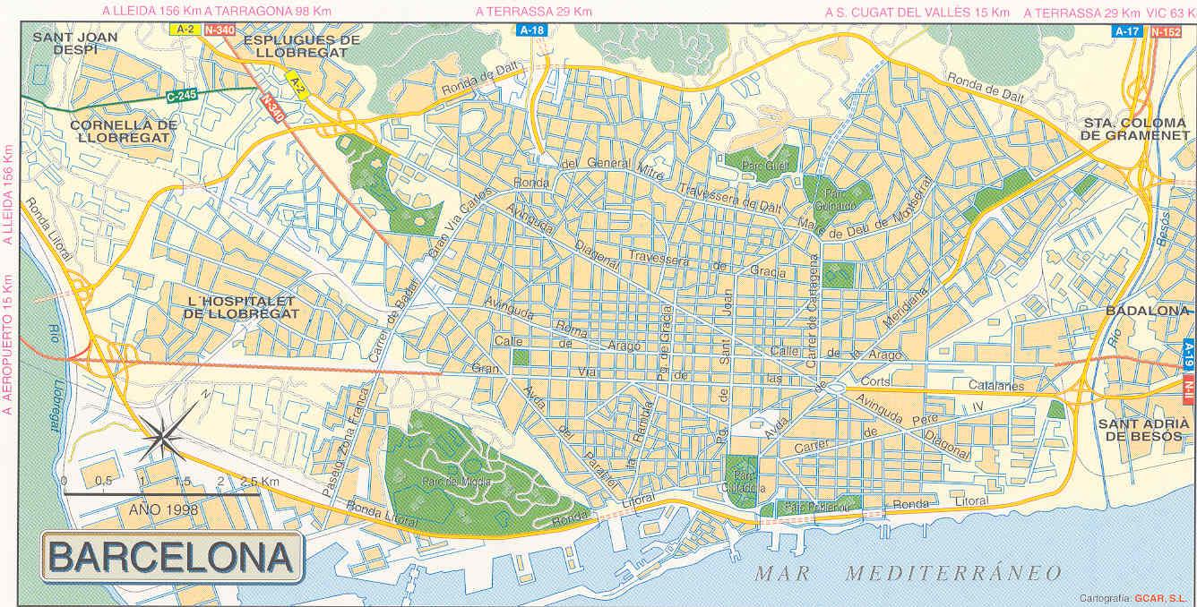 Carte De Barcelone Et Ses Environs.Barcelone